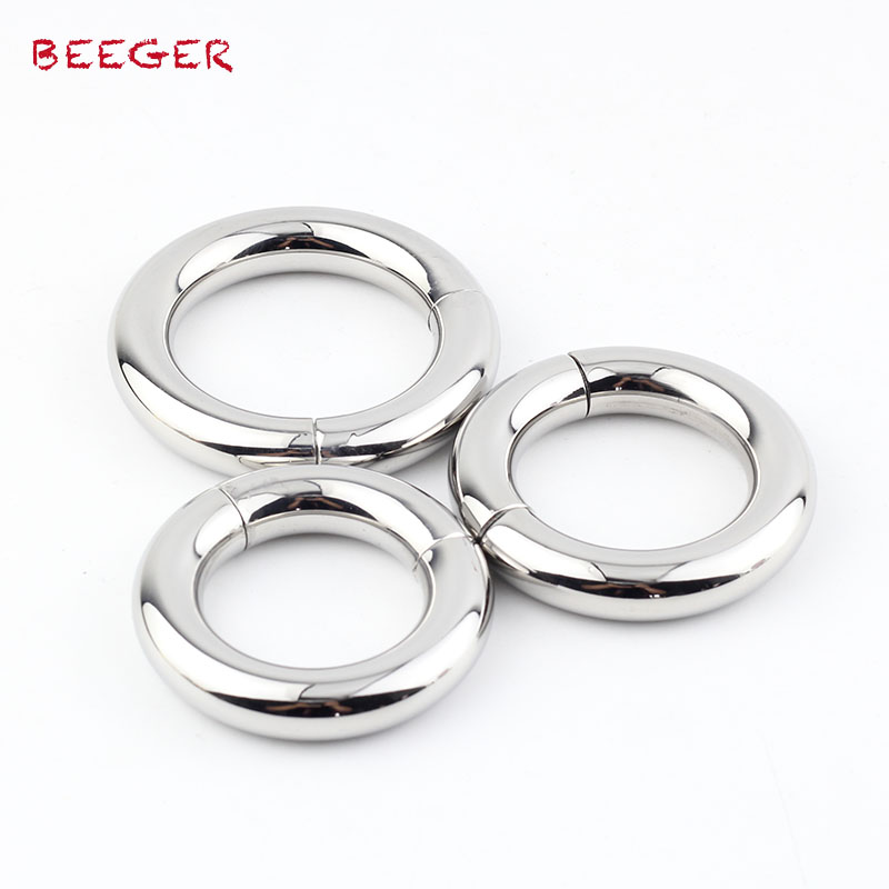 Buy Beeger 10mm Thickness stainless steel cock ring Magnetic dick pendant rings male