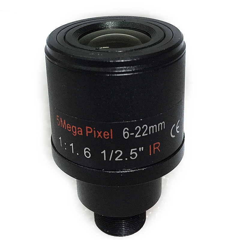 New 1/2.5 inch 6-22mm 5MP M12 mount varifocal Lens F1.6 For 4MP/5MP CMOS/CCD Sensor Security IP/AHD Camera aomway universal cmos ccd m12 camera fixed mount for fpv