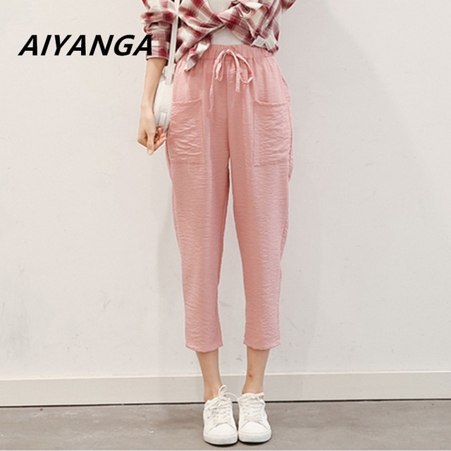 2018 women office lady solid harem pants elastic waist pockets wrinkle style ladies fashion casual chic ankle length trousers