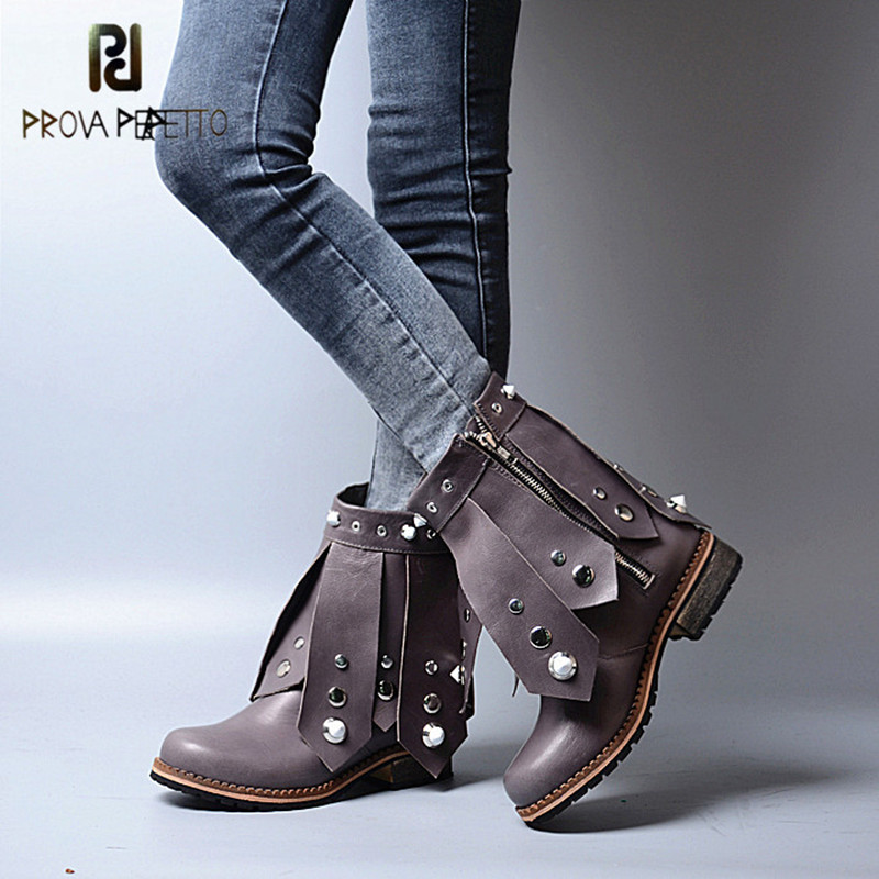 Prova Perfetto New Arrival Band Design Studded Fashion Zipper-side Boots For Young Girls Round Toe Low Heel Mid High Boots