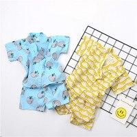 Summer Newborn baby set fashion cute Japanese kimono short sleeve banana fruit costume toddler sleeping clothes boy home wear