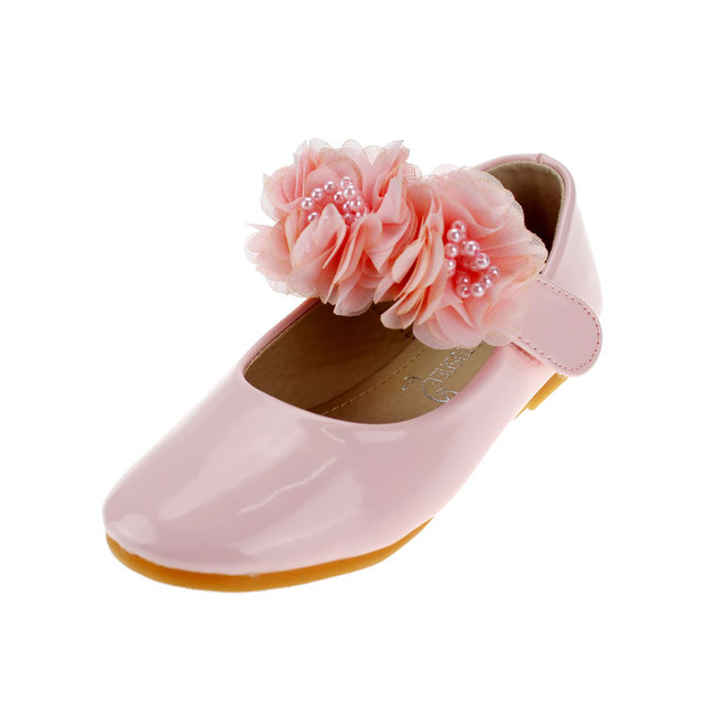 MSMAX Children Single Shoes Leather Girls Dress Party Shoes Pink Lace  Flower Beading Flat Princess Kids Ladies Wedding Shoes 1280e773c5d9