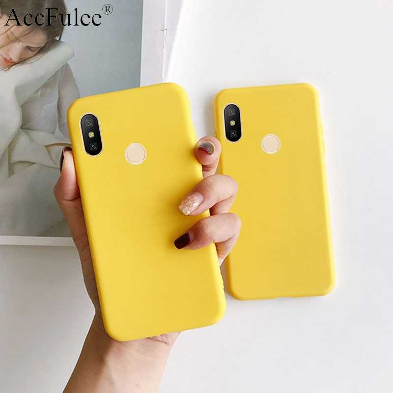 Yellow Candy Matte Clear TPU Case For Xiaomi Redmi Go S2 3S 4X 4A 5 6 Pro 7A Note 3 4 5A 7 Pro Cute Candy Rubber Cover