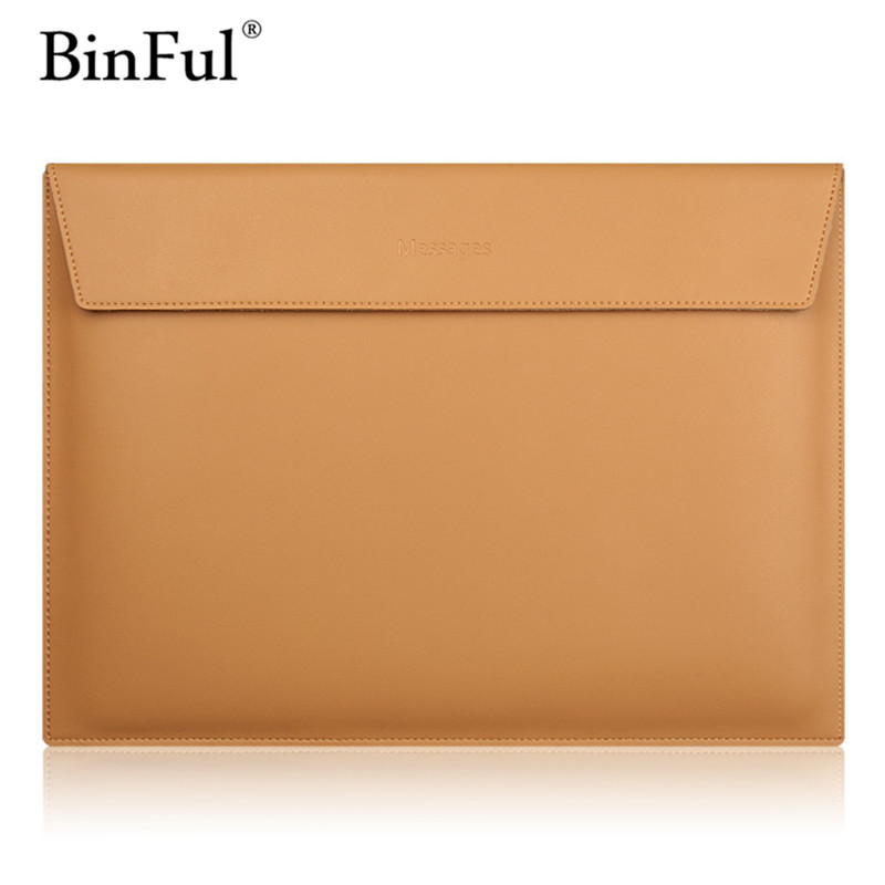 BinFul New Arrival Laptop Sleeve 11 12 13 15 Inch for Macbook 12 Genuine Leather Computer Bag 13 Waterproof Bag Women Men Bags