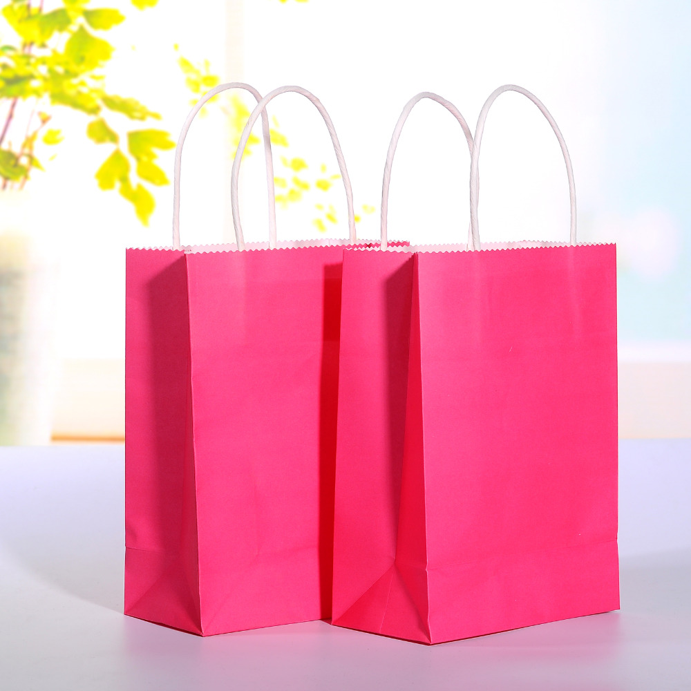 ⊱20pcs/lot Hot Pink kraft paper bag with handle Wedding Party Favor ...