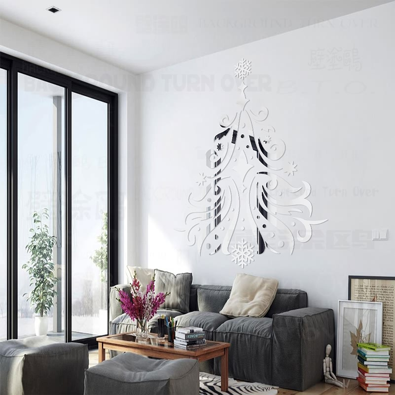 Aliexpress.com : Buy DIY European Style Christmas Tree Decorations Acrylic  Mirror Wall Stickers Girl Room Hair Salon Wall Decor Plastic Mirror R105  From ... Part 67