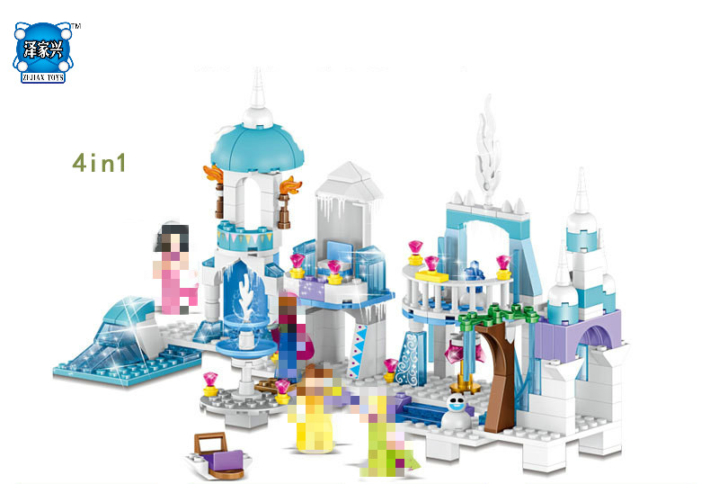 Hot Fairy Tales Snow Queen Elsa and Anna Princess Castle 4in1 Building Block Beauty Mermaid Figures Bricks Lepins Girls Toys tales