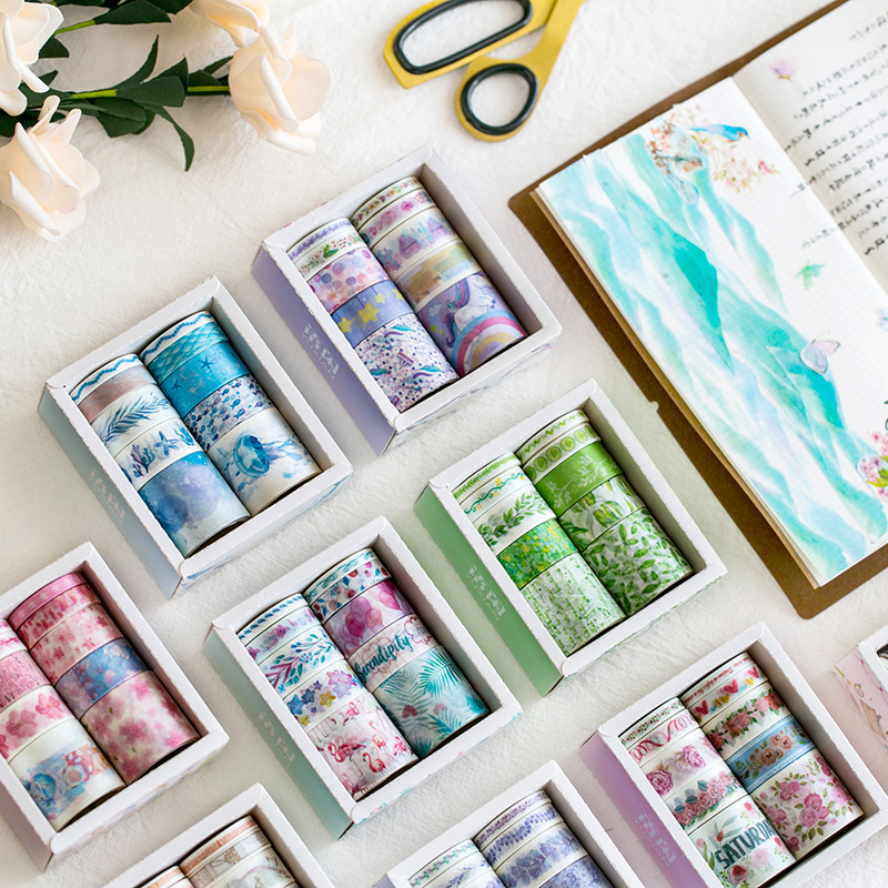10pcs/lot Ocean Stars Wisteria Floral Plant Unicorn Cute Masking Washi Tapes Set Japanese Paper Scrapbooking Planner Stationery