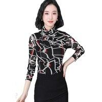 Women Turtleneck Mesh Tee Shirt Femme Long Sleeve Sexy Bright Silk Korean Slim Plus Size Female Clothing Ladies Cloths Tops OLN