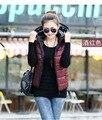 Женская осень и зимний жилет 2015 новый Тонкий капюшоном хлопка жилет моды глянцевых женских моделей вниз жилет женщины талии пальто жилет