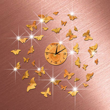 *Environmental Protection Crystal Technology Clock Mirror Quartz Clock Whipped Up The Butterfly Group Stereo Clock