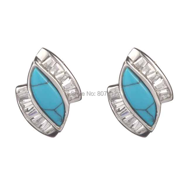 925 sterling Silver Earrings Turquoise and white Cubic Zirconia beautiful S--459e Trendy Wholesale First class products Recommen