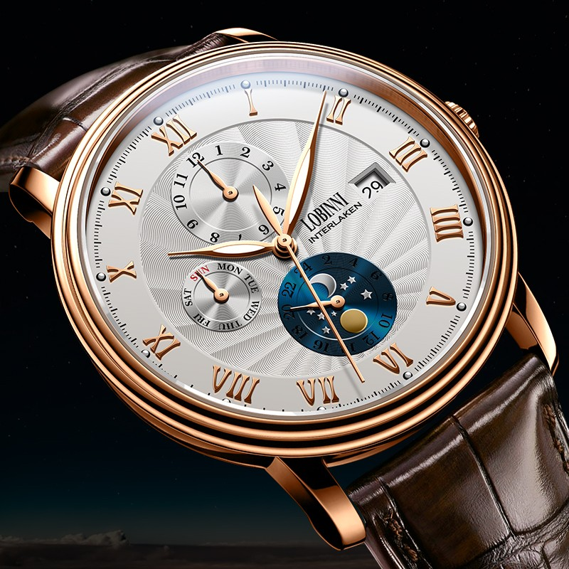 Nieuwe LOBINNI Zwitserland Mannen Horloges Luxe Merk Horloges Meeuw Automatische Mechanische Klok Saffier Maanfase L1023B 1-in Mechanische Horloges van Horloges op  Groep 2