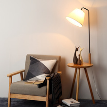 Nordic simple vertical lamp modern solid wood fabric led creative bedroom living room lighting floor table