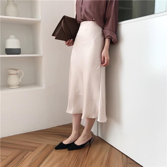 summer elegant high waist women long skirt solid A-line faldas mujer female solid slim jupe femme saia longa 19