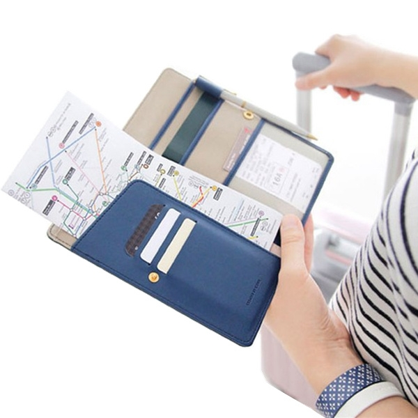 WulekueTravel Journey Fabric Passport Cover ID Business Card Holder Case Purse Organizer Ticket Passport Bag
