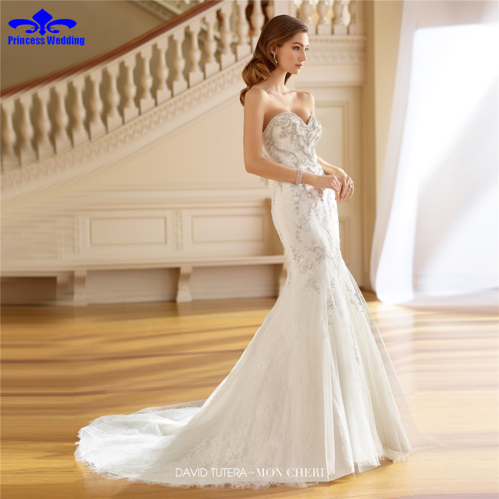 Romantic strapless vestido lace mermaid wedding dresses for Heavy beaded wedding dresses
