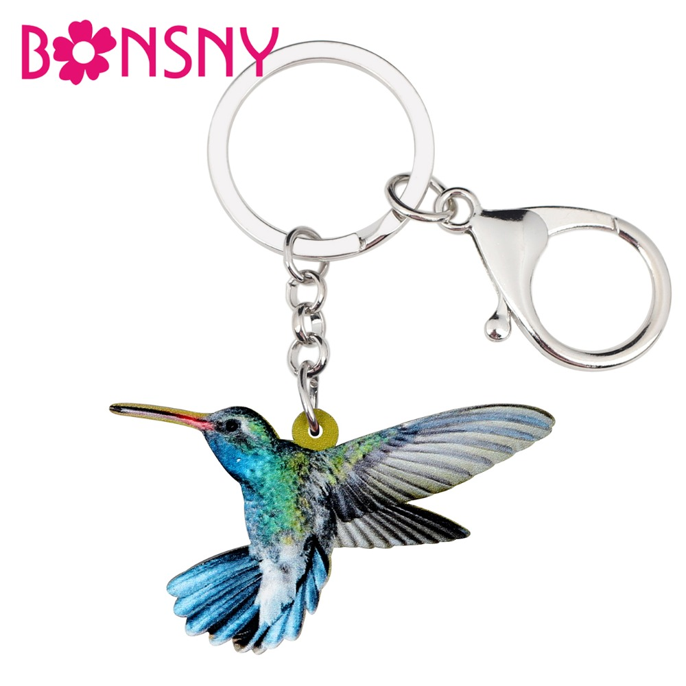 Bonsny Acrylic Flying Hummingbird Key Chain Keychain Ring Holder Fashion Animal Jewelry For Women Girl Bag Car Purse Charms Gift
