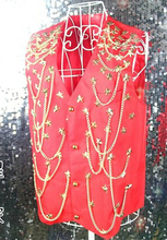 M-XXXL Men's stage Bar nightclub male ds super dance red sequined Rivets vest fashion singer costumes tank clothing coat