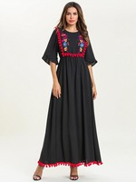 2019 Autumn New Women Embroidered Red ball Abayas For Women Robe Musulmane Kaftan Dubai Clothing 7603#