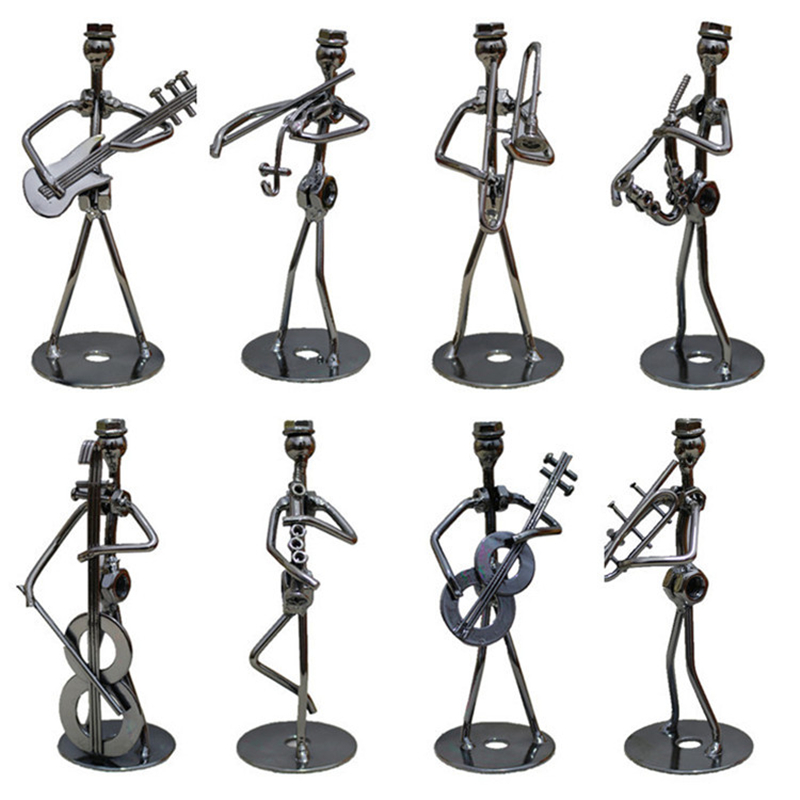 VILEAD 8 Styles 13cm Iron Music Band Figurine Metal Musician Model Creative Iron Music Player Crafts Vintage Office Home Decor