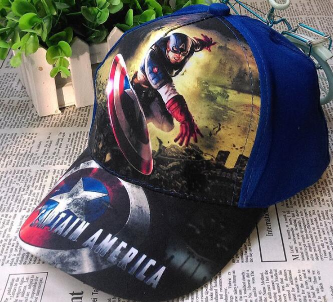 1pcs popular cartoon kids boys lovely avengers captain America Fashion Sun Hat Casual Cosplay   Baseball     Cap   children party gifts