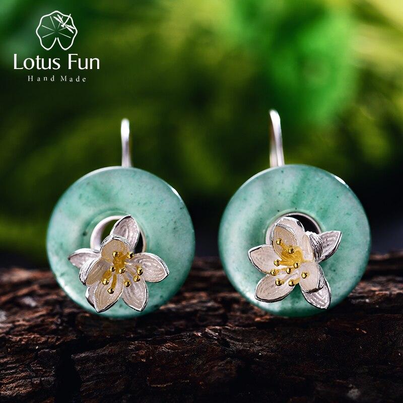 Lotus Plaisir Réel 925 Sterling Argent Pierre Naturelle Creative Main Fine Bijoux Lotus Chuchotements de Baisse Boucles D'oreilles pour les Femmes Brincos