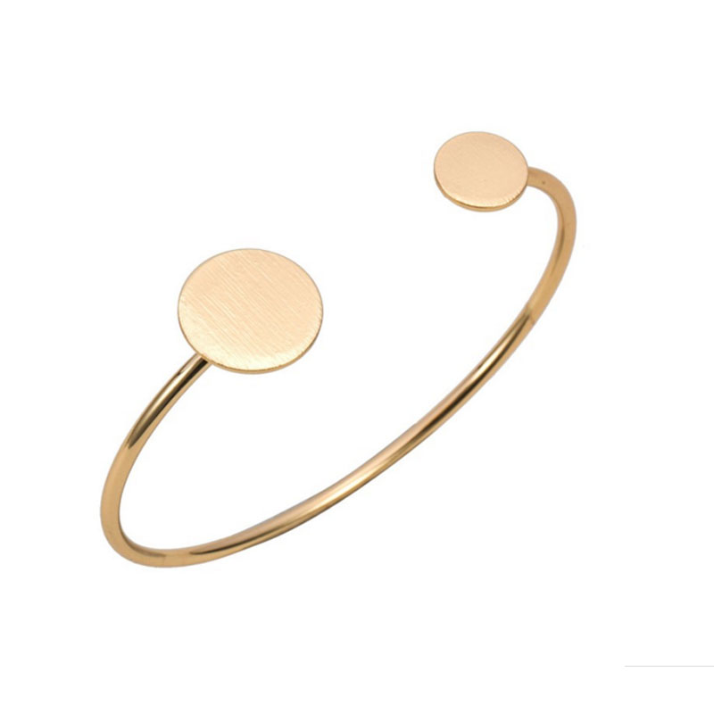 1pc New Fashion Adjustable Geomtric Round Big And Small Flat Cake Bangles And Bracelets Silver Gold-color Women Love Jewelry
