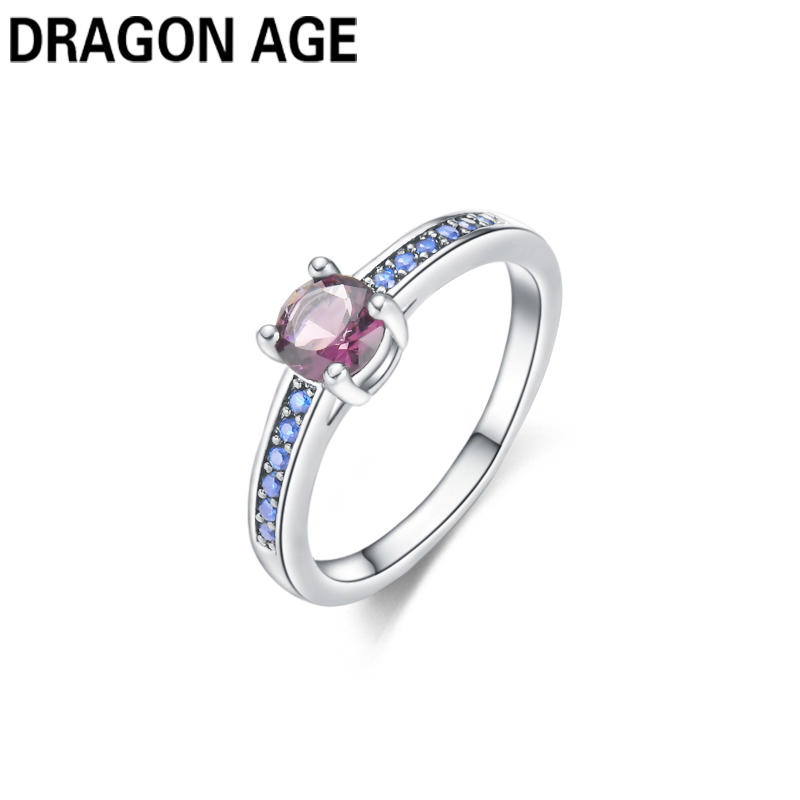 New Brand Trendy Vintage Round Shape Blue Crystal Silver Plated Zircon Rings Female Weddings Engament Rings for women Gift Black