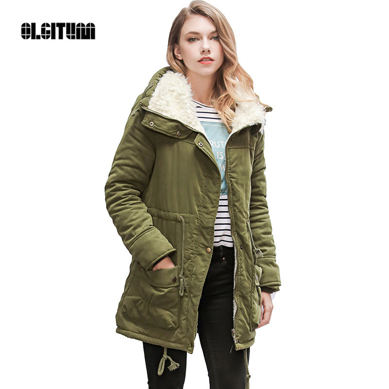 2019 Winter Jacket Women Hooded Coat Cotton Jacket Adjustable Waist Slim   Parkas   Plush Lining Cotton Coat CC256