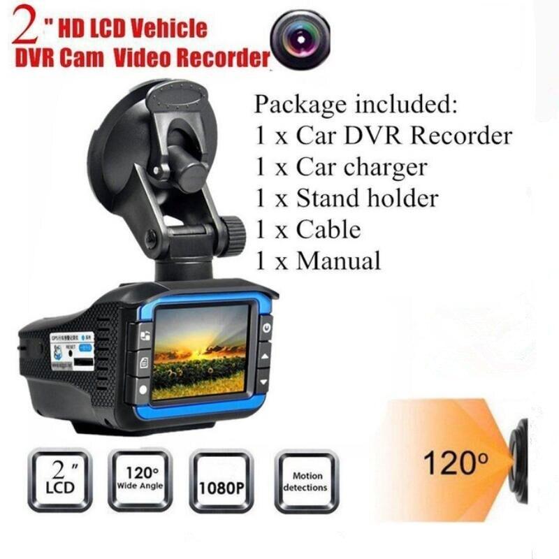 New 2 in 1 Car DVR Dash Cam Video Radar Speed Detector Night Vision Radar Detection 2 Inch HD LCD Display 720P Support 32G TF
