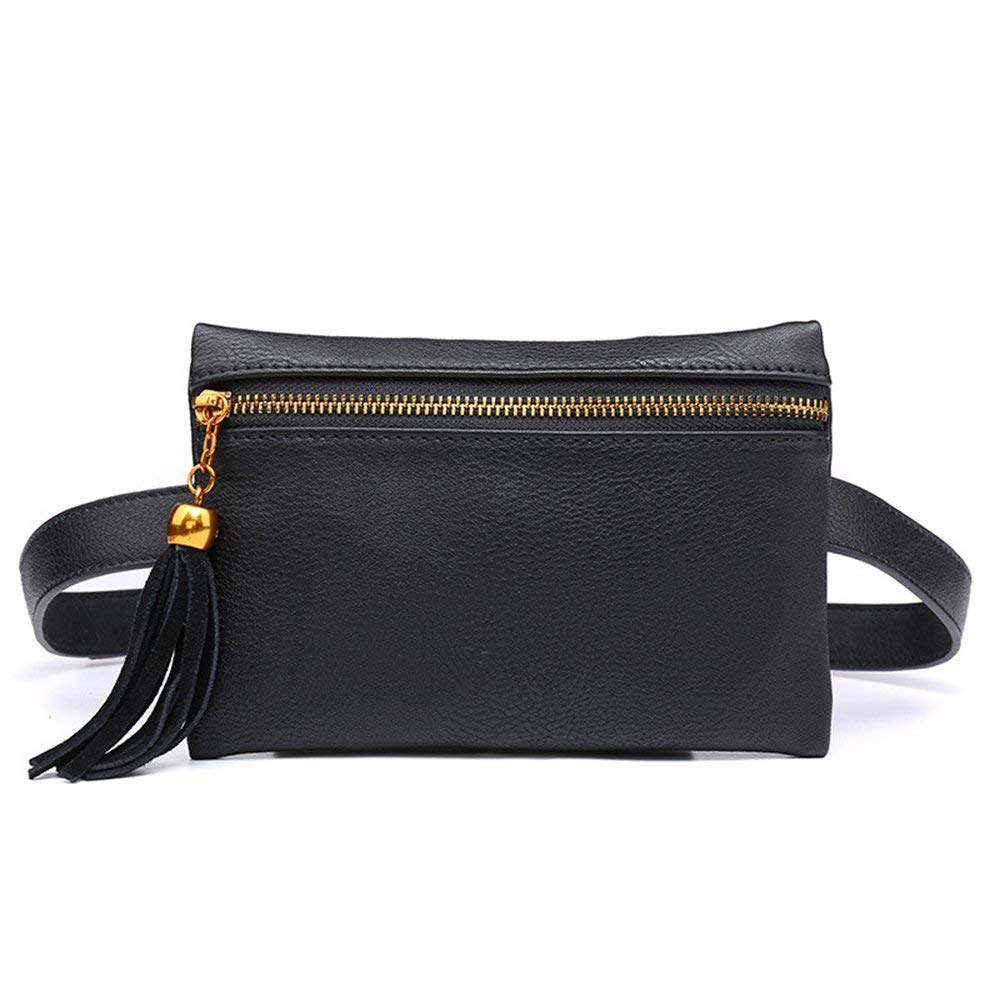 FGGS Fashion Solid Fanny Bag Black Female Adjusted Belt Bag Ladies Casual Waist Pack