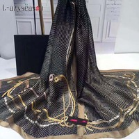 L-azyseason 2018 мода великолепный шелковый шарф Роскошные женские брендовые шарфы для Для женщин качественная шаль принт хиджаб 180*90 см