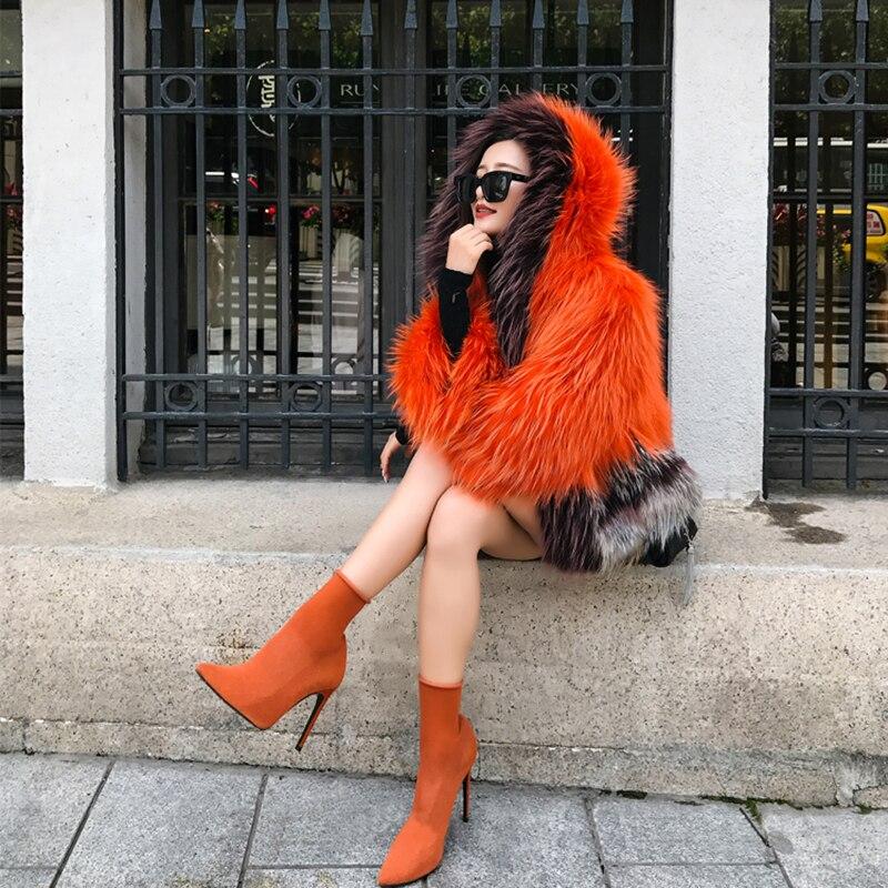 Fourrure Femme Silm D'o Avec Femmes 2018 Photo As Couleur Orange cou Manteau Nouveau Natrual De Mode Hiver Bffur Capuche Réel Renard Courtes 5wO4UqgAPv