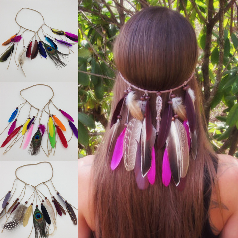 Flight Tracker Western Bohemia Peacock Feather Hair Band Hippie Folk Style Indian Hair Fringed Hair Headdress Jewelry Findings & Components
