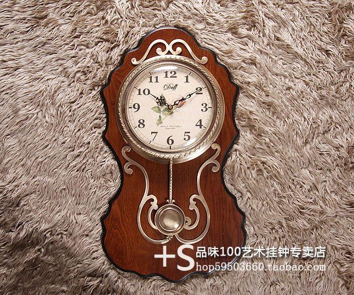 Rushed Duff Rustic Solid Wood Wall Clock Pendulum Silent