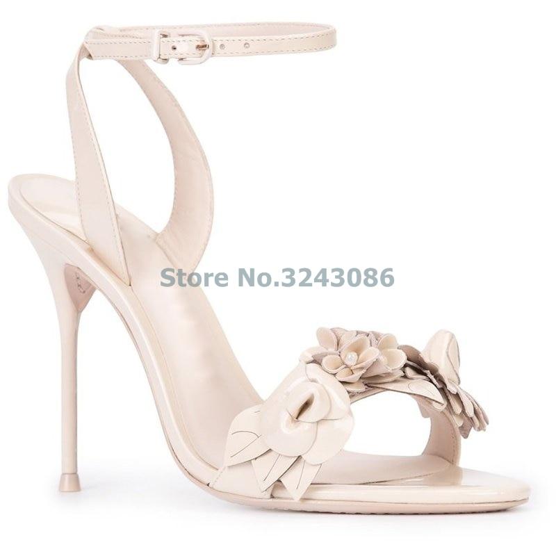 Nouveauté stéréoscopique fleur mince talon haut sandales Nude rose argent noir peau de mouton Grain élégant chaussures de mariage