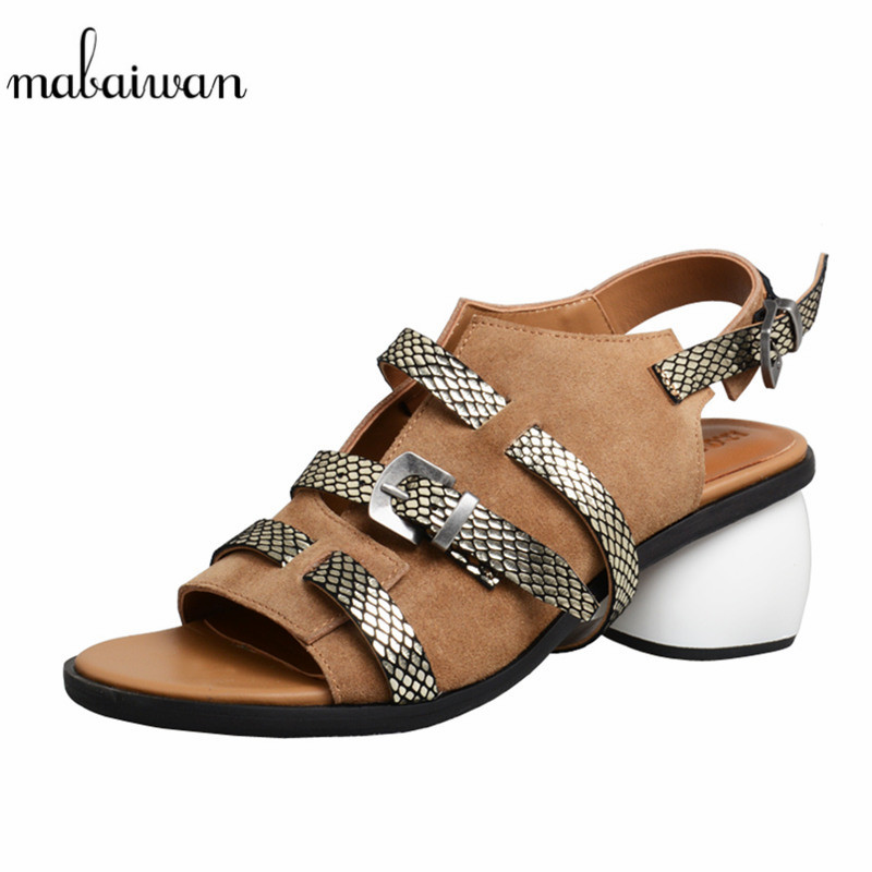 Mabaiwan Casual Summer Sandals For Women Genuine Leather Pumps High Heel Cross Tied Shoes Woman Peep Toe Female Beach Flip FlopMabaiwan Casual Summer Sandals For Women Genuine Leather Pumps High Heel Cross Tied Shoes Woman Peep Toe Female Beach Flip Flop