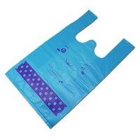 Atacado Azul Colete em Forma de Embalagens de Plástico Saco de Compras de Supermercado Loja de Varejo com Alça Sorriso Rosto Impresso Multi Tamanhos