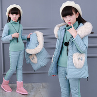 Winter Girls Clothing Sets Girl Cotton Coat With Fur Hooded Warm Vest Jacket Warm top Cotton Pants 3 Pieces Set H410