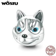 WOSTU Real 925 Sterling Silver Cute Huskie Dog Pet Animal Charm fit Original Brand Beads Bracelet Jewelry Friend Gift CQC836