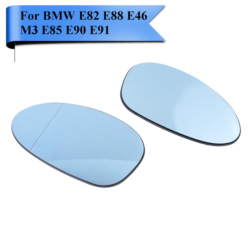 2x Heated Blue Tinted Wing Door Mirror Glass For BMW E82 E88 128i 135i E46 M3