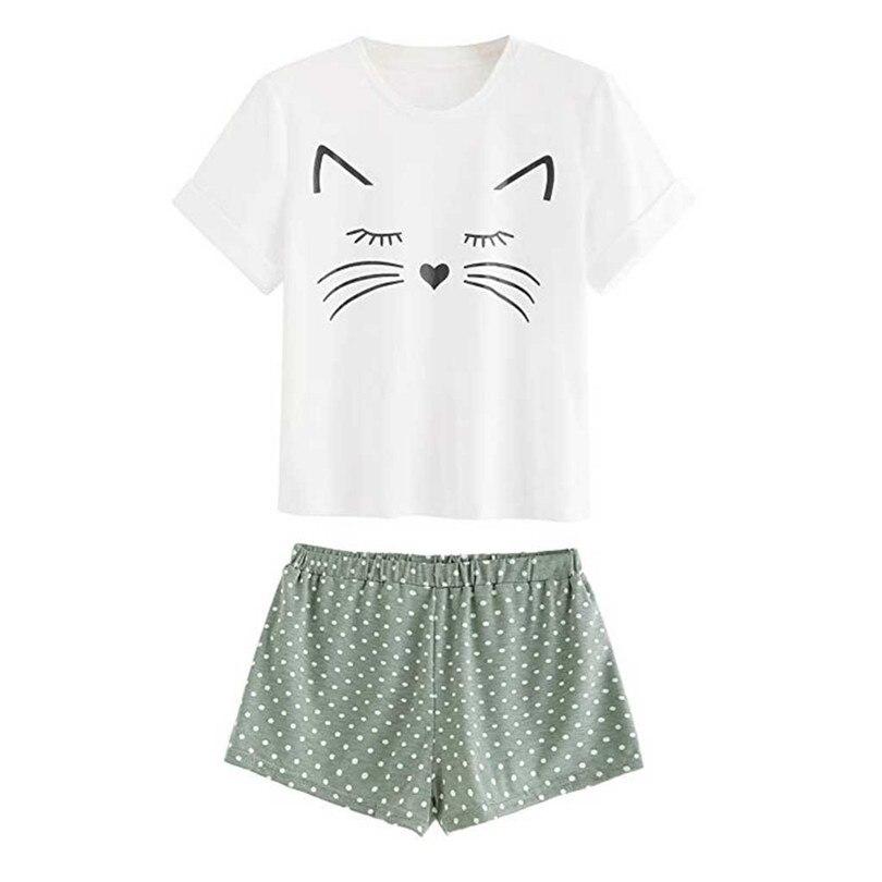 O Neck   Pajamas     Sets   Cat Print   Pajamas   Animal Short Sleeve   Pajamas   For Women Shorts Home Clothes Dot Sleepwear Pijama 40JY7