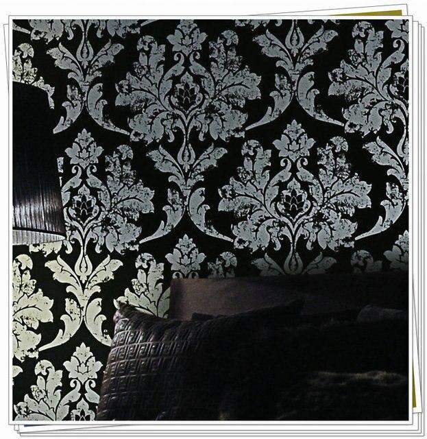 Interieur Zwart Zilver Damast Behang Leer Slaapkamer Behang Achtergrond Muur Behang Zwarte Bloemen Voor Woonkamer