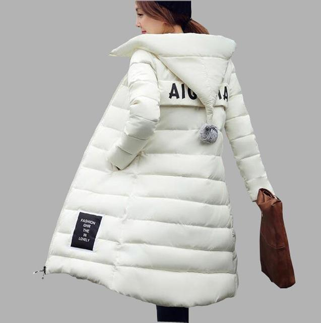 Chaqueta de algodón acolchado 2016 de invierno nueva espesar largo slim down parka de alta calidad más tamaño con capucha capa femenina kl06