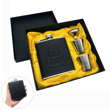 Hot sale 7oz Pu Leather Wrapping whisky Funnel cccp Flagon Stainless steel Alcohol Jack Hip Flask SET With Black Gift Box Set marvis black box gift set