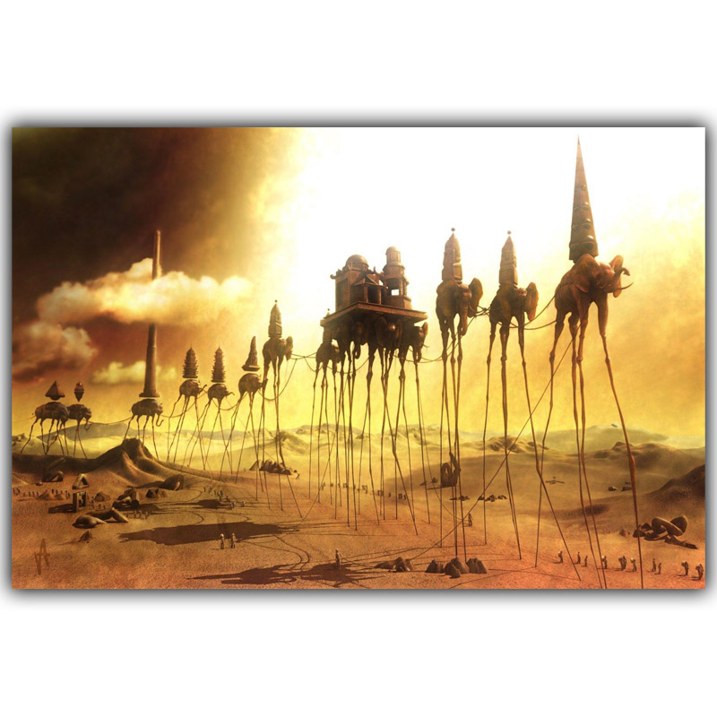 Salvador Dali Surrealism Abstract Painting Elephant Art Vintage Posters Photos Home decoration Silk 12x18 20x30 inches HH141