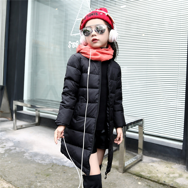 цена Girls collarless quilted waterproof white duck down jacket outwear kids winter warm snow coat long style Down & Parkas 120-150cm