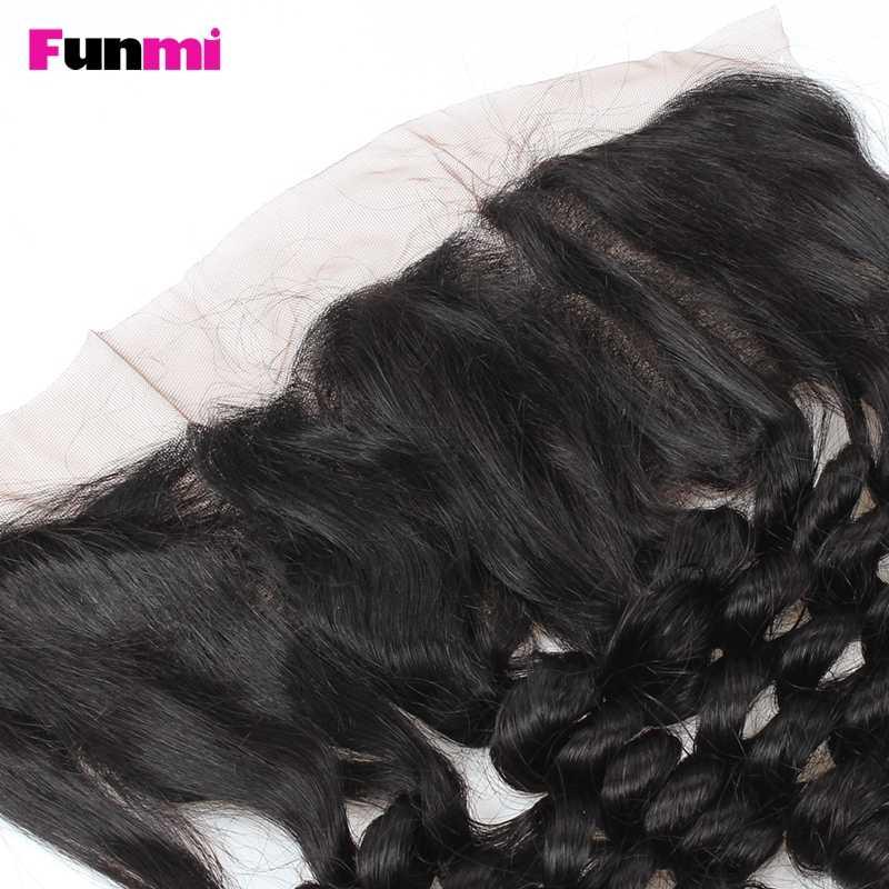 Funmi oreja a oreja 13x4 pulgadas cierre Frontal de encaje con 3 paquetes brasileño onda suelta cabello virgen humano paquetes de pelo con Frontal