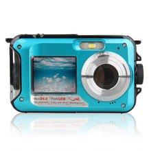 Подводная камера с двойным экраном, водонепроницаемая HD камера для фотосъемки, записи видео, спорта, дайвинга, светодиодный, вспышка, цифровая видеокамера